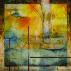 """VaranasiEncaustic on Panel 16"""" x 16"""""""