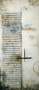 "Vivaldi (2012)Encaustic, paper and oil on panel. 36"" x 16"""